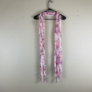 Accessories - Cream and Floral Scarf with Fringe Ends